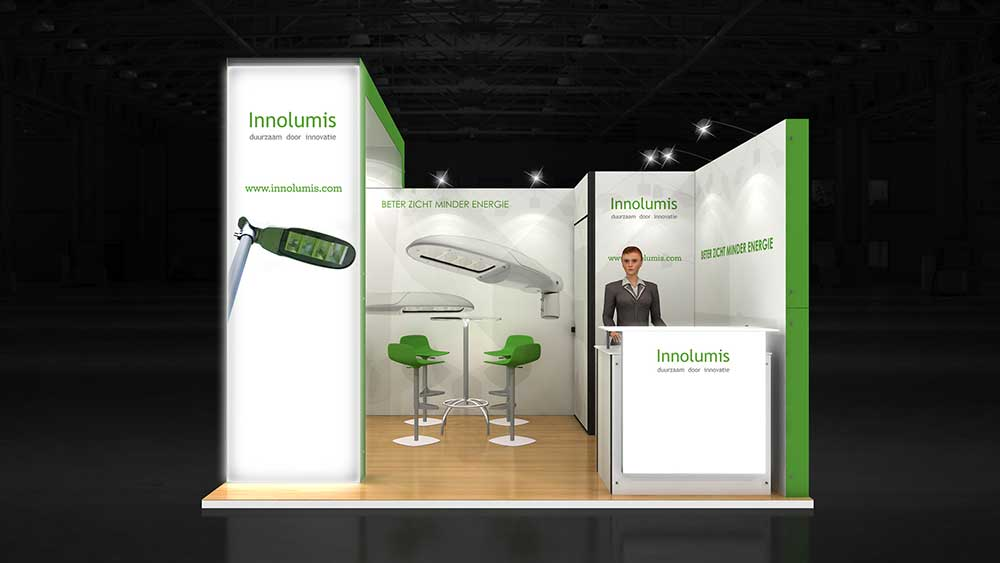 Simple Exhibition Stand Goals : Corner exhibition stand re